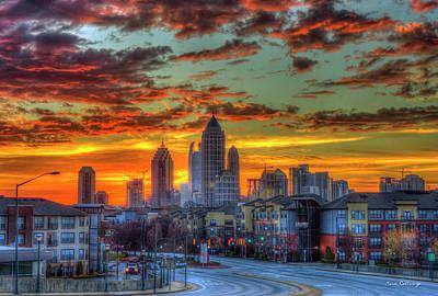 Photograph - Red Dawn Sunrise Midtown Atlanta Towering Over Atlantic Station Art by Reid Callaway
