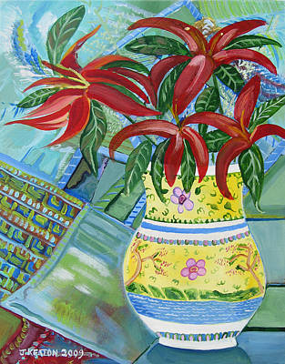 Day Lilly Painting - Red Day Lillies by John Keaton