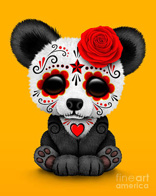 Panda Cub Wall Art - Digital Art - Red Day Of The Dead Sugar Skull Panda by Jeff Bartels