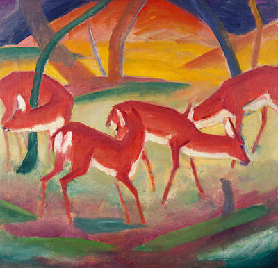 Grazing Elk Painting - Red Deer One by Franz Marc