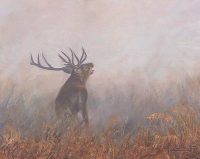 Stag Painting - Red Deer Stag Early Morning by David Stribbling