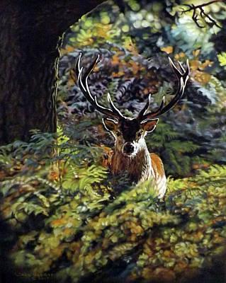 Pastel - Red Deer Stag by Linda Becker