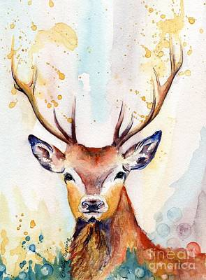Painting - Red Deer Watercolor by Melly Terpening