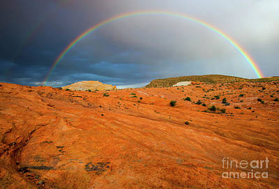 Double Rainbow Photograph - Red Desert Rain by Mike Dawson