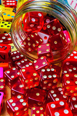 Pour Photograph - Red Dice Spilling Out by Garry Gay