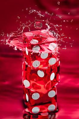Water Play Photograph - Red Dice Splash by Steve Gadomski