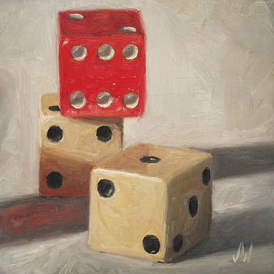 Art Print featuring the painting Red Die by Joe Winkler