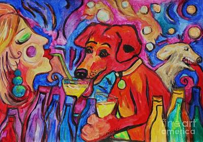 Painting - Red Dirk Dog And Rita Blow Bubbles by Dianne  Connolly