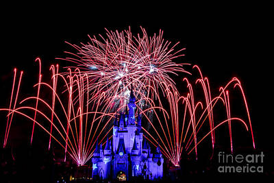 Prince Charming Photograph - Red Disney Fireworks by Darcy Michaelchuk