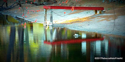 Early Spring Digital Art - Red Dock by Rebecca Malo