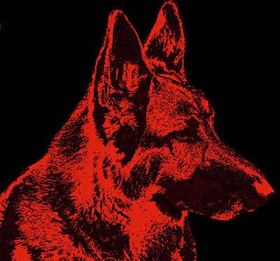 Red Dog - German Shepherd Art Print by Sandy Keeton