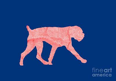 Outline Digital Art - Red Dog Tee by Edward Fielding