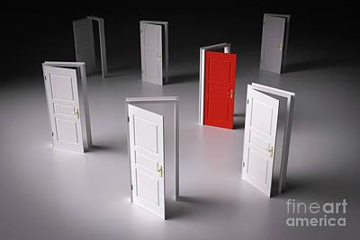 Open Door Photograph - Red Door Among Other White Ones. Decision Making by Michal Bednarek