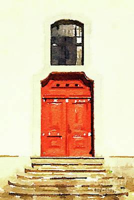 Medieval Entrance Painting - Red Door by Anita Van Den Broek