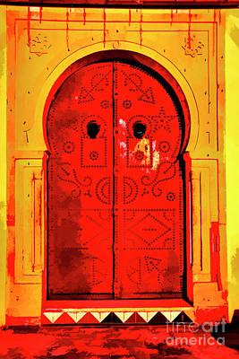 Photograph - Red Door At Night by Rick Bragan