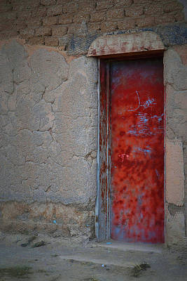 Photograph - Red Door At Taos by Nadalyn Larsen