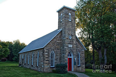 Old Photograph - Red Door Church 1 by Pittsburgh Photo Company