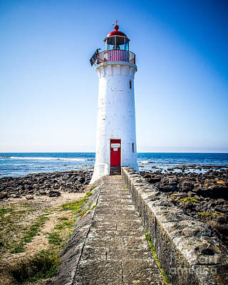 Red Door Lighthouse Art Print