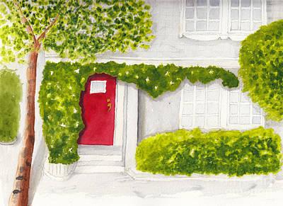 Painting - Red Door Morning Light 2 by Conni Schaftenaar