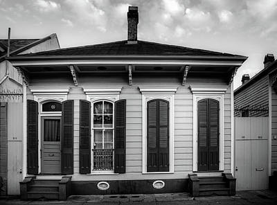 Shotgun Houses Wall Art - Photograph - Red Door On Bourbon Street In Black And White by Greg Mimbs