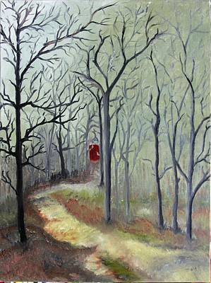 Landscape Painting - Red Door by Outside the door By Patt