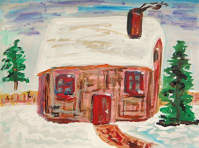Snowscape Drawing - Red Door Snow House by Mary Carol Williams