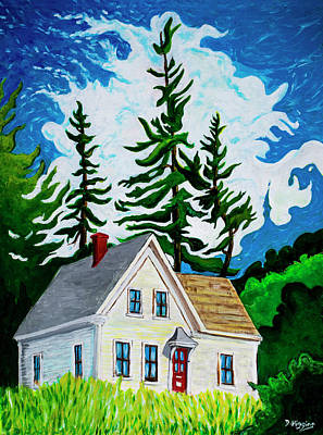 Painting - Red Door, Stonington, Maine  Painting, Acrylic On Paper, 17x 22  by Dave Higgins