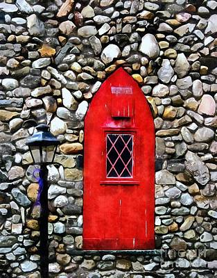 Photograph - Red Door Window by Janine Riley