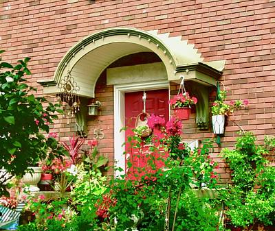 Photograph - Red Door With Plants by Stephanie Moore