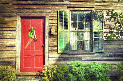 Red Door With Saw Art Print by John Adams
