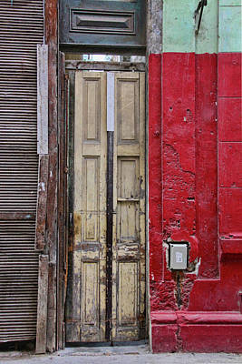 Photograph - Red Door Yellow Wall by Sandra Anderson