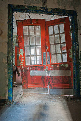 Photograph - Red Doors In The Dark by Michael Porchik