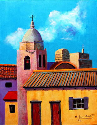 Spanish Mission Church Painting - Red Doors by M Diane Bonaparte