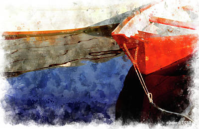 Red Dory Art Print by Peter J Sucy