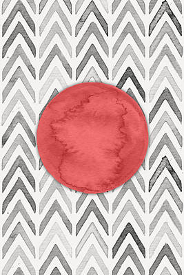 Moon Digital Art - Red Dot On Chevron Watercolor Pattern  by Nordic Print Studio