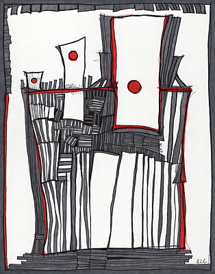 Drawing - Red Dot Village by Sandra Church