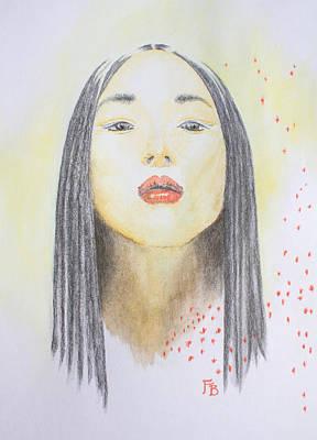 Red Dotted Girl Original by Francesca Borgo