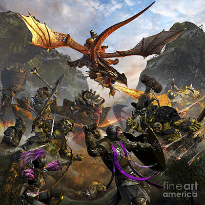 Fantasy Royalty-Free and Rights-Managed Images - Red Dragon And Orcs Attacking Royal by Kurt Miller