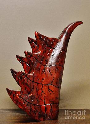Ceramic Art - Red Dragon Bird by Paula Ludovino