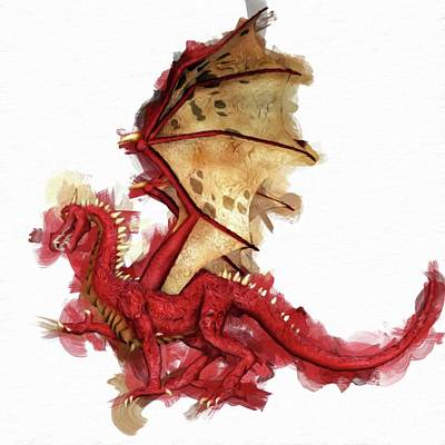 Fantasy Royalty-Free and Rights-Managed Images - Red Dragon by Mary Bassett by Esoterica Art Agency