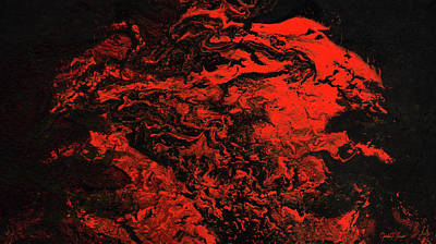 Painting - Red Dragon - Contemporary Red Dark Abstract Painting by Modern Abstract
