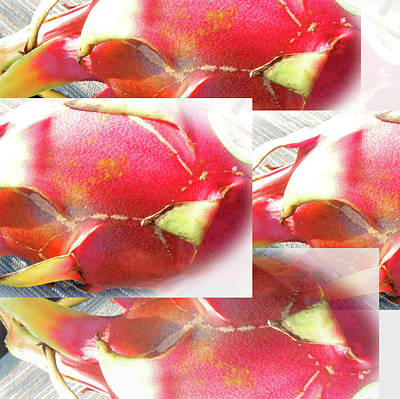Photograph - Red Dragon Fruit Collage by Tina M Wenger