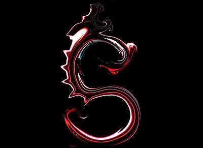 Daydreams Art Drawing - Red Dragon Serpent Named S by Abstract Angel Artist Stephen K