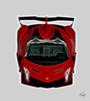 Switzerland Mixed Media - Red Dream Lamborghini Veneno by Edier C