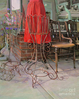 Red Dress In Vintage Storefront Art Print by CR Leyland
