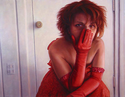Redhead Painting - Red Dress by James W Johnson