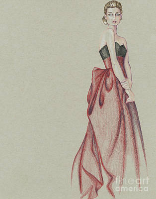 Red Gown Drawing - Red Dress Lady by Samantha Burns