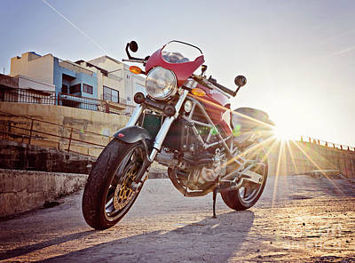 Lucille Ball Royalty Free Images - Red Ducati Royalty-Free Image by Kira Yan
