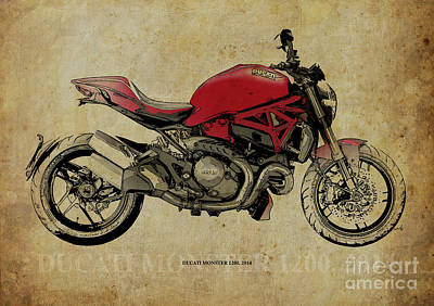 Digital Art - Red Ducati Monster 2014, Man Cave Decoration by Pablo Franchi