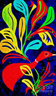 Red Leaves Mixed Media - Red Duck by Sarah Loft